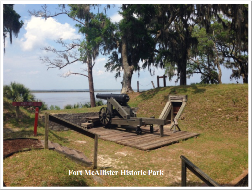 "Located south of Savannah on the banks of the Ogeechee River, this scenic park showcases the best-preserved earthwork fortification of the Confederacy. The earthworks were attacked seven times by Union ironclads but did not fall until 1864—ending General William T. Sherman's ""March to the Sea."" Visitors can explore the grounds with cannons, a furnace, bombproof, barracks, palisades and more, while a Civil War museum contains artifacts, a video and gift shop.   Nestled among giant live oaks, Spanish moss and salt marsh, this park is a beautiful location for camping, fishing, boating and picnicking. Seven cabins sit on stilts near the marsh, surrounded by palm trees and palmettos. The shaded campground is bordered by tidal Redbird Creek, a boat ramp, fishing dock and nature trail. A large picnic area offers river views and playgrounds, while another boat ramp provides access to the Ogeechee River."