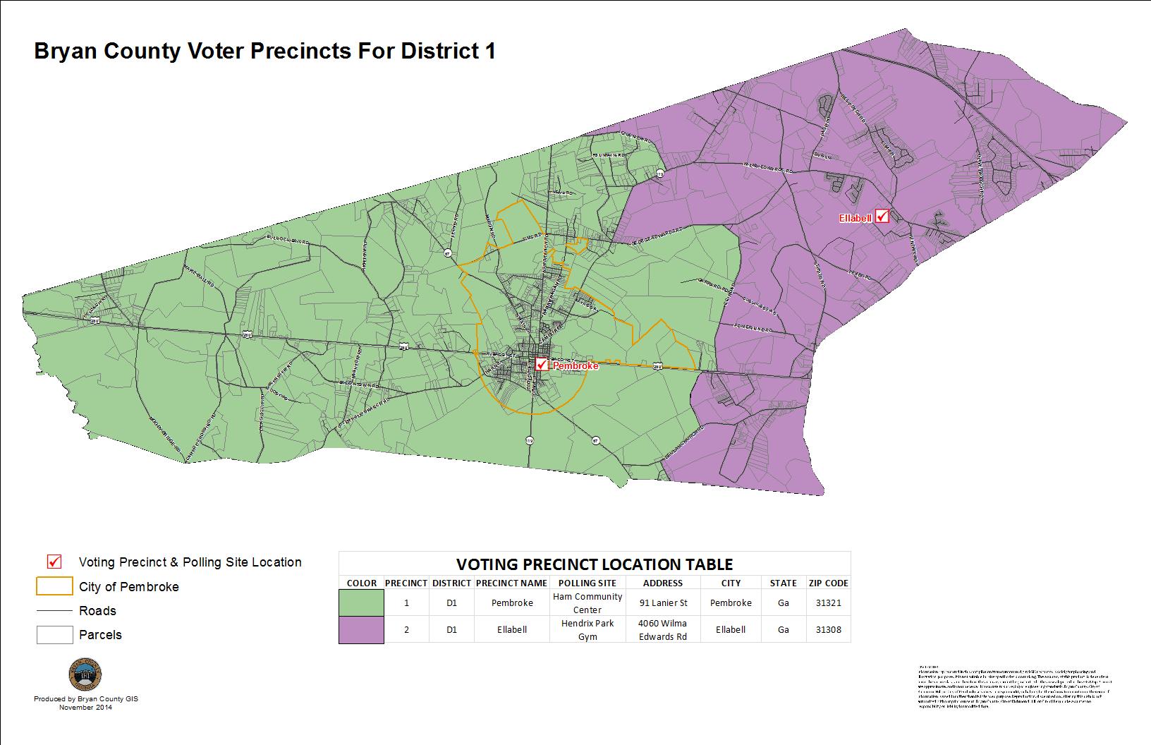 Voting Precincts Bryan County - Georgia voting map